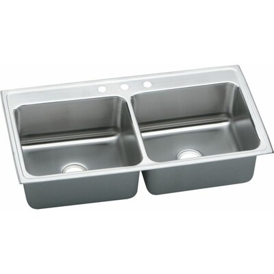 Lustertone 43 x 22 Extra Deep Self-Rimming Three Hole Double Kithcen Sink