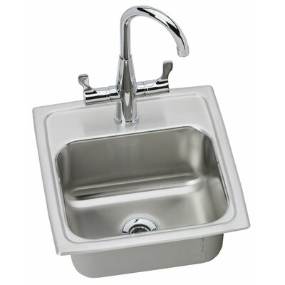 Lustertone 15 x 15 Drop-In Kitchen Sink with Faucet Faucet Drillings: 2 Hole
