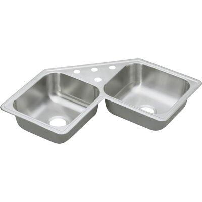 Dayton 31.88 x 31.88 Elite Top Mount Corner Kitchen Sink Faucet Drillings: 4 Holes