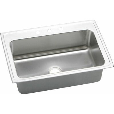 Gourmet 33 x 22 Kitchen Sink Faucet Drillings: No Hole