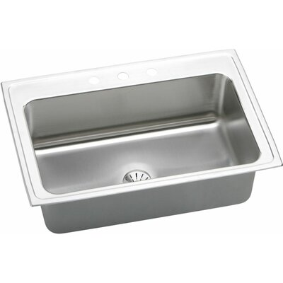 Gourmet 33 x 22 Lustertone Kitchen Sink with Perfect Drain Faucet Drillings: 3 Hole
