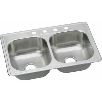 Dayton 33 x 22 Elite Double Bowl Kitchen Sink Faucet Drillings: 4 Holes