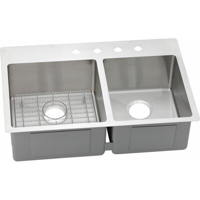 Crosstown 33 x 22 Stainless Steel Double Bowl Universal Mount Kitchen Sink Faucet Drillings: FR2