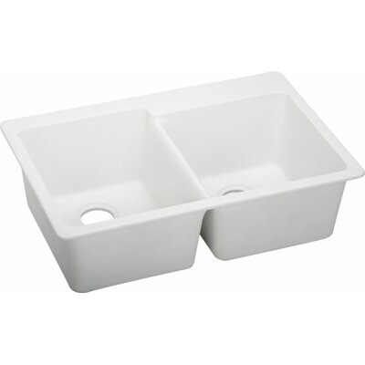 Quartz Classic 33 x 22 Double Bowl Top Mount Kitchen Sink Finish: White