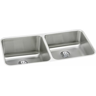 Gourmet 30.75 x 18.5 Lustertone Undermount Kitchen Sink with Perfect Drain Bowl Orientation: Left