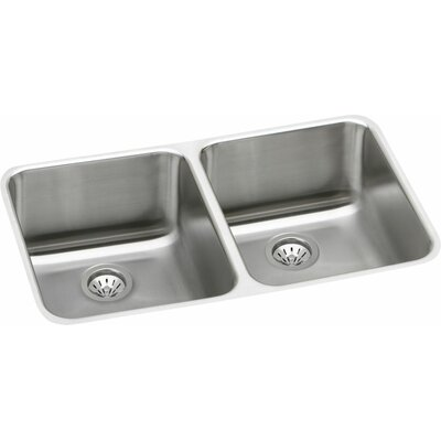 Gourmet 30.75 x 18.5 Lustertone Undermount Kitchen Sink with Drain Assembly and Bottom Grid Bowl Depth: Left 10 / Right 10