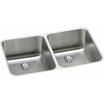 Gourmet 30.75 x 18.5 Lustertone Undermount Kitchen Sink with Perfect Drain