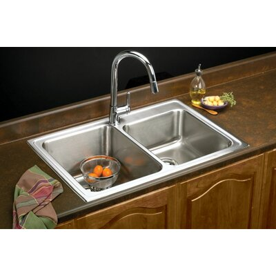 Gourmet 33 x 22 Lustertone Kitchen Sink Faucet Drillings: 1 Hole