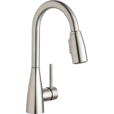 Avado� Single Handle Deck Mount Kitchen Faucet with Pull-Down Spray Finish: Lustrous Steel