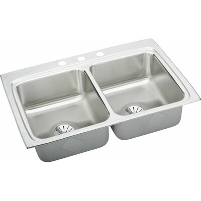 Gourmet 33 x 22 Double Basin Lustertone Kitchen Sink with Perfect Drain Faucet Drillings: MR2 Hole