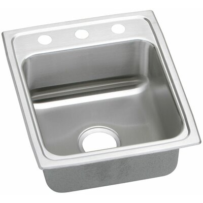 Gourmet 15 x 22 Lustertone Kitchen Sink Faucet Drillings: No Hole