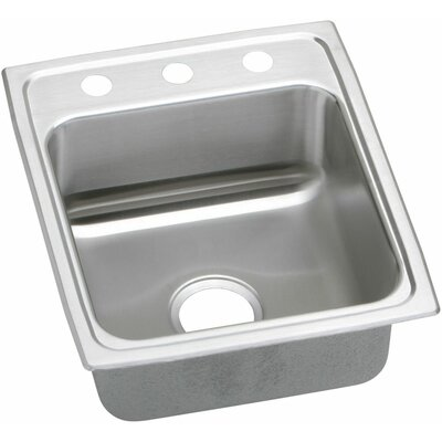 Lustertone 17 x 20 Single Bowl Kitchen Sink Faucet Drillings: 3 Holes