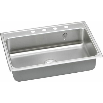 Gourmet 31 x 22 Kitchen Sink with E-Dock Hook Faucet Drillings: 5 Hole