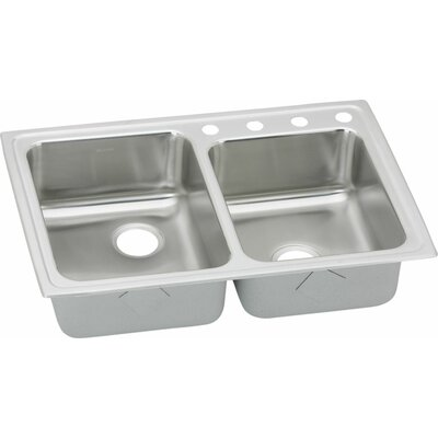 Gourmet 31 x 22 Kitchen Sink with Perfect Drain Faucet Drillings: S2 Hole, Bowl Orientation: Right