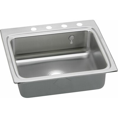 Gourmet 25 x 22 Kitchen Sink with E-Dock Hook Faucet Drillings: No Hole