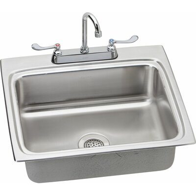 25 x 22 Kitchen Sink with Faucet Finish: Satin Chrome