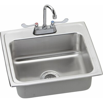 22 x 19.5 Kitchen Sink with Faucet Finish: Satin Chrome