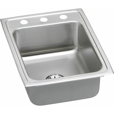 Gourmet 17 x 22 Kitchen Sink with Perfect Drain Faucet Drillings: No Hole