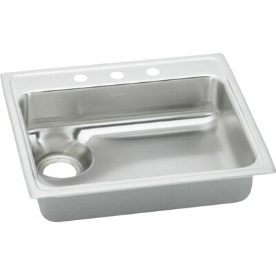 Gourmet 25 x 22 Kitchen Sink Drain Location: Right, Faucet Drillings: No Hole