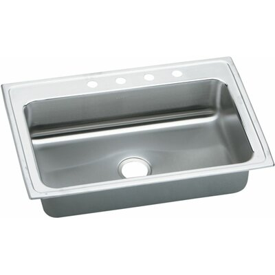 Gourmet 33 x 22 Kitchen Sink Faucet Drillings: 4 Hole