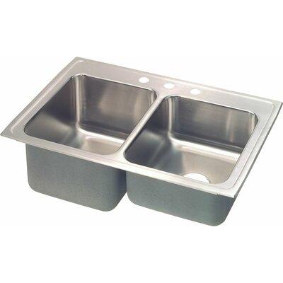 Gourmet 33 x 22 Kitchen Sink Faucet Drillings: 2 Hole, Bowl Orientation: Left