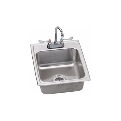 7 x 20 Drop-In Kitchen Sink with Faucet Finish: Chrome