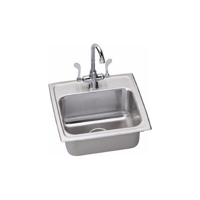 6 x 16 Drop-In Kitchen Sink with Faucet Finish: Chrome