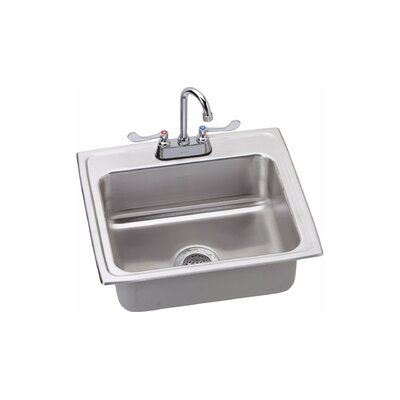 6 x 20 Drop-In Kitchen Sink with Faucet Finish: Satin Chrome