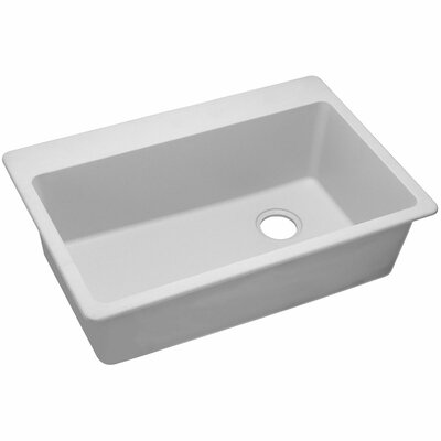 Quartz Classic 33 x 22 Single Bowl Top Mount Kitchen Sink Finish: White