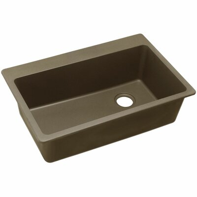 Quartz Classic 33 x 22 Single Bowl Top Mount Kitchen Sink Finish: Mocha