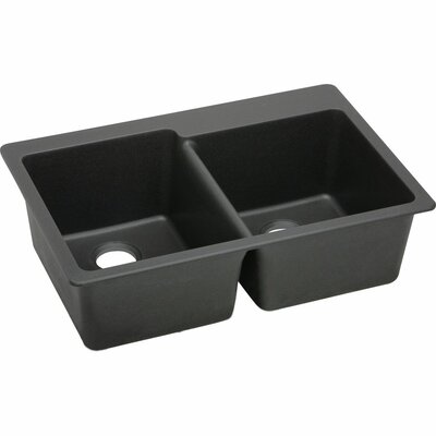 Quartz Classic 33 x 22 Double Bowl Top Mount Kitchen Sink Finish: Black
