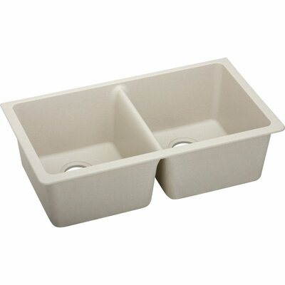 Quartz Classic 33 x 19 Double Basin Undermount Kitchen Sink Finish: Putty