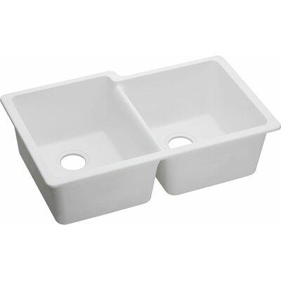Quartz Classic 33 x 20.5 Double Bowl Undermount Kitchen Sink Finish: White
