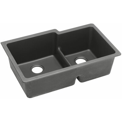 Gourmet 33 x 20.5 Double Bowl Undermount Sink Finish: Dusk Gray