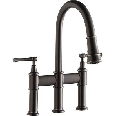 Explore Double Handle Deck Mount Kitchen Faucet Finish: Antique Steel