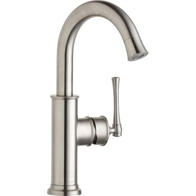 Explore Single Handle Deck Mount Kitchen Faucet Finish: Lustrous Steel