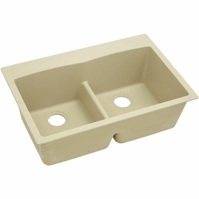 Classic 33 x 22 Double Bowl Top Kitchen Sink Finish: Sand