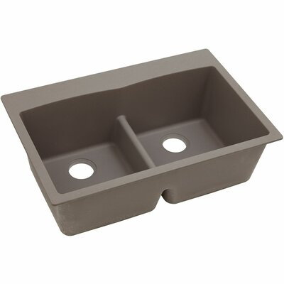Classic 33 x 22 Double Bowl Top Kitchen Sink Finish: Greige