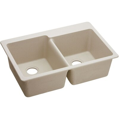 Classic 33 x 22 Double Bowl Top Kitchen Sink Finish: Putty