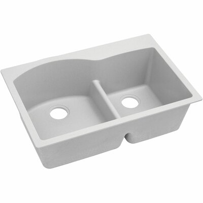 Classic 33 x 22 Double Bowl Top Kitchen Sink Finish: White