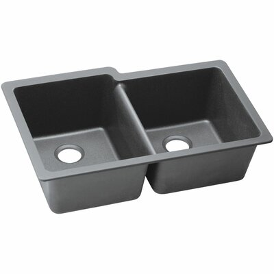 Classic 33 x 20.5 Double Bowl Kitchen Sink Finish: Greystone