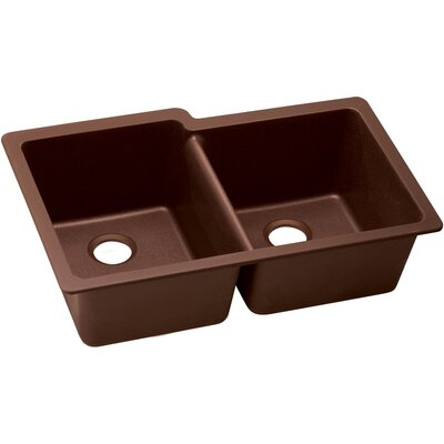 Classic 33 x 20.5 Double Bowl Kitchen Sink Finish: Pecan