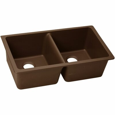 Classic 33 x 18.8 Double Bowl Kitchen Sink Finish: Pecan
