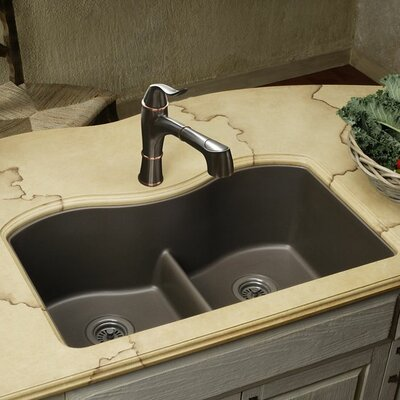 Classic 33 x 20 Double Bowl Kitchen Sink Finish: Greige