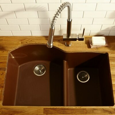 Classic 33 x 22 Double Bowl Top Kitchen Sink Finish: Pecan