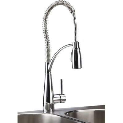 Avado Single Handle Deck Mount Kitchen Faucet with Pre Rinse Spray Finish: Lustrous Steel