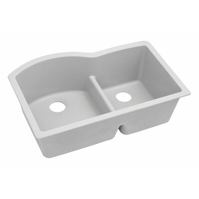 Classic 33 x 22 Double Bowl Kitchen Sink Finish: White