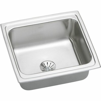 Gourmet 19 x 18 Stainless Steel Single Bowl Top Mount Bar Sink