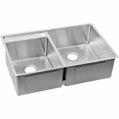 Crosstown 32.5 x 20.5 Stainless Steel Double Bowl Undermount Kitchen Sink