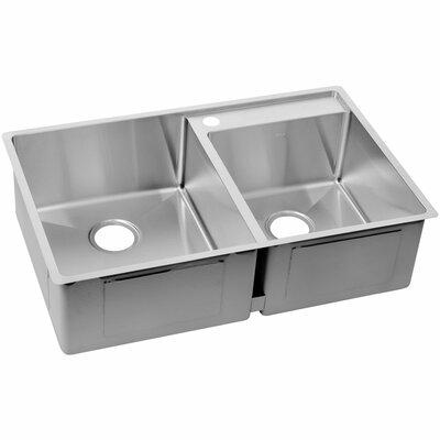 Crosstown 32.5 x 20.5 Stainless Steel Double Bowl Undermount Kitchen Sink